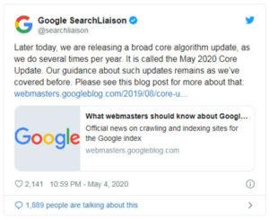 جدیدترین بروزرسانی هسته گوگل